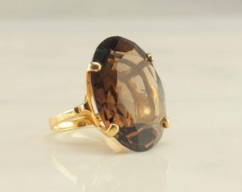 14k Gold 40ct Smoky Topaz Ring Size 7 Brown