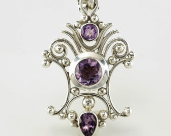 Purple Amethyst Sterling Silver Pendant 1 2/5 Inch Tall Vintage 925