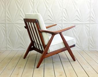 Arne Hovmand Olsen Rosewood Oak Danish Lounge Chair for Randers MobelFabrik New Grey Maharam Hallingdal Mid Century Modern 50's 60's Retro