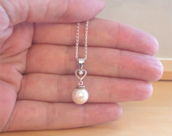 "925 White Fresh Water Pearl Pendant  & 18"" Sterling Silver Chain/Pearl Jewellery/Pearl Jewelry/White Pearl Necklace/June Birthstone"