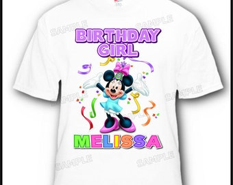 Personalized Birthday Girl Minnie Mouse T-Shirt