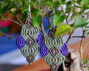 Macramè earrings mint green and purple