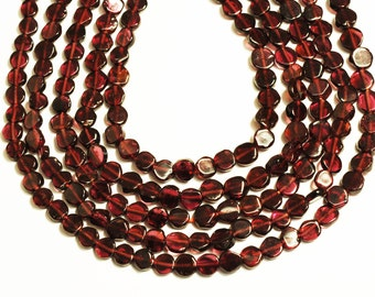 Garnet Flat Coin Shape Beads