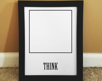 Think Outside the Box Printable Wall Art Quotes, Black and White Art Print, Instant Download, Inspirational decor, funny decor