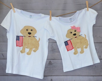 Personalized 4th of July Patriotic Dog With Flag Applique Shirt or Onesie Girl Boy