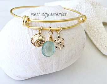 turtle & sand dollar bangle moss aquamarine bangle 14k gold filled beach wedding aquamarine jewelry bridesmaids gifts march birthstone