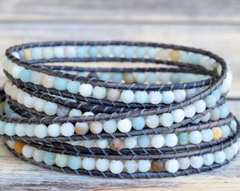 Wrap Bracelet, Beaded Wrap Bracelet, Wrap Bracelets, Surfer Girl Jewelry, Sand Dollar Button, Boho Jewelry, Leather Wrap Beaded