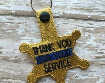 6 Point Star Badge- Thank You For Your Service - POLICE - Sheriff - Deputy - Snap/Rivet Key Fob - DIGITAL Embroidery Design