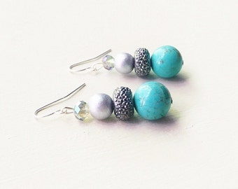 Turquoise and Silver Earrings//Turquoise Howlite Earrings