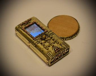 V2 Steampunk phone BRUTAL - based on NOKIA 130 , Wireless charging, Dual SIM Cards, steam technology.