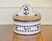Antique Salt Box in Delft Blue with Wood Hinged Lid