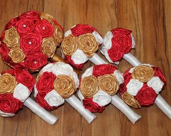 Red, Gold, & White Wedding Bouquet Set, Gold Wedding Bouquets, Antique Gold Bouquets, Christmas Wedding Bouquets, Vintage Wedding Bouquets