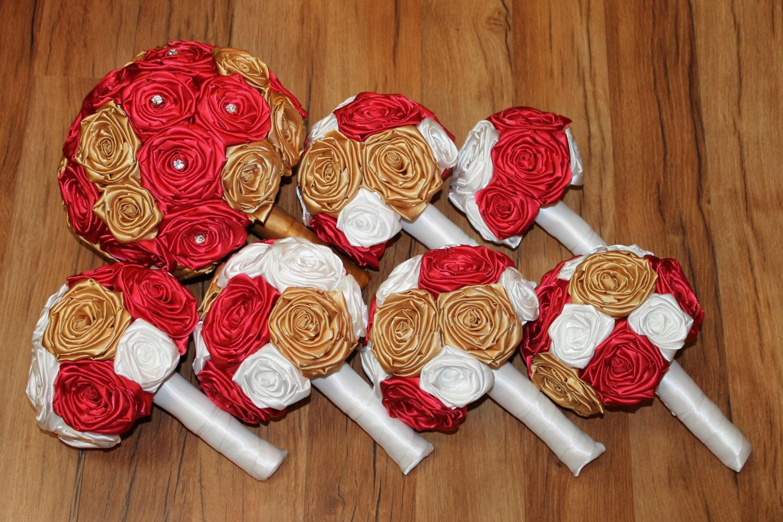 red gold white wedding bouquet set gold wedding bouquets. Black Bedroom Furniture Sets. Home Design Ideas