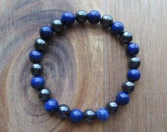 Lapis Lazuli and Hematite Bracelet, Beaded Womens or Mens Bracelet, Mala Bracelet, Layering Bracelet, Natural Gemstone Stretch Bracelet