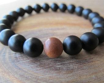 Sandalwood and Matte Black Onyx Bracelet, Stacking Bracelet, Mala Bracelet, Mens Beaded Bracelet, Men's Jewelry, Wood Bracelet, Yoga Jewelry