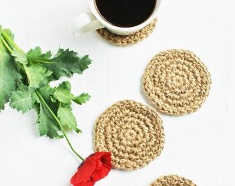 Rustic Jute Coasters.  Set of 4 or 6 Crochet Coasters.