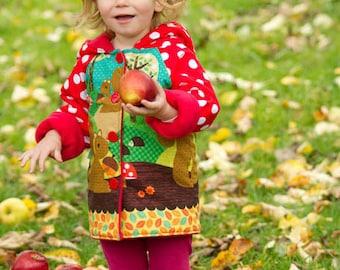 Girls Autumn Coat - Girls back to school Coat -Woodland Animal Print -Girls Kindergarten Coat - Girls School Coat - Squirrels - Girls Jacket