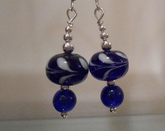 Royal Blue Glass Earrings Item No. 59