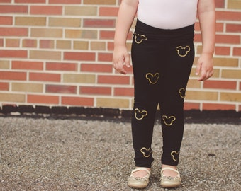 Mickey Mouse Minnie Mouse Hand Painted Childrens Leggings Custom Toddler Leggings Womens Leggings