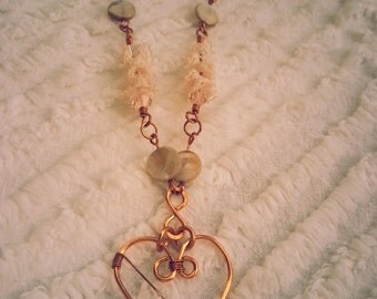 Have a Heart Wire and Lace Necklace