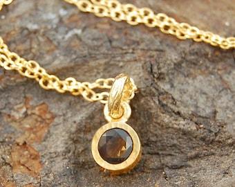 Smoky Quartz Pendant, Gold Necklace, Gold Smoky Quartz Necklace, Quartz Necklace, Gold Jewelry, Smoky Quartz, Gold Solitaire Pendant, Quartz