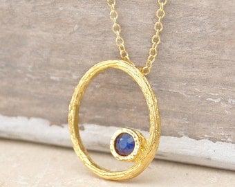 Sapphire Necklace, Gold Necklace, Oval Necklace, Organic Jewelry, Blue Sapphire Pendant, Handmade Jewelry, Gemstone, Birthstone,Oval Pendant