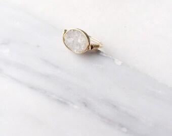 Oval Petite White Druzy Ring