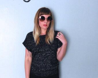 Vintage 80s Black Sparkle short Sleeve Sweater