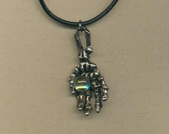 Boys necklace- Bony hand with crystal