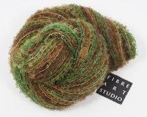 Hand Dyed Yarn   Kid Mohair Boucle Loop Yarn   Green Brown Gold Variegated Yarn   Knitting, Crochet, Weaving Yarn from Fibre Art Studio