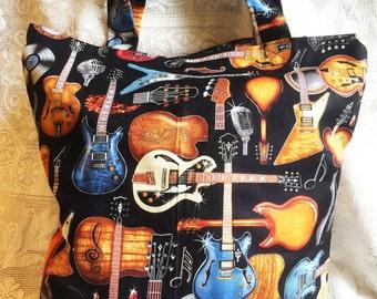 Fabric Tote Shopping Bag - Records & Guitars