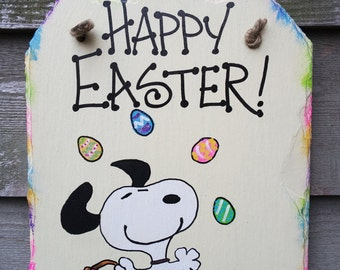 Snoopy and Woodstock hand painted Happy Easter Easter Eggs Wall-hanging Slate