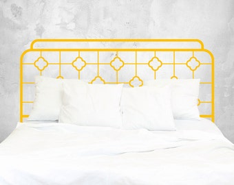 Chinoiserie Bed Headboard Wall Sticker - Iron Headboard Wall Decal Sticker - Minimalist Bedroom Wall Sticker