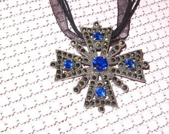 Necklace Cross Byzantine Large 925 Blue Stones Marcasite Sterling Silver Heirloom Quality