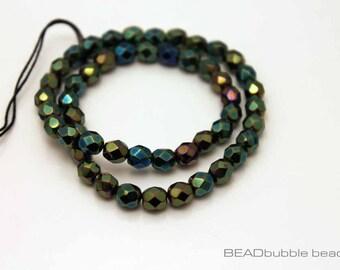 Green Iris Czech Fire Polished 6mm Glass Beads x 50 (CZB607) Jewelry Making Beads