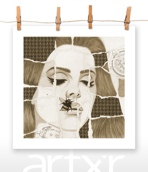 TORN SERIES - VOLUME 06 - Lana Del Rey - Print of a Hand Drawn Illustration with Digital Color and Paper Textures Added