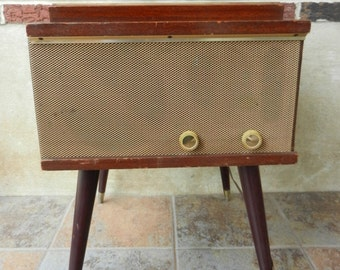 Working Mid Century Console Turntable, Record Player, Phonograph, Possibly  Garrard
