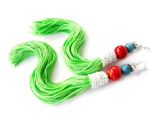 Tassel earrings. Unique. Green Long Tassel, red orange and turquoise natural stone, pearls and strass. OOAK . Earrings handmade. Gift Ideas.