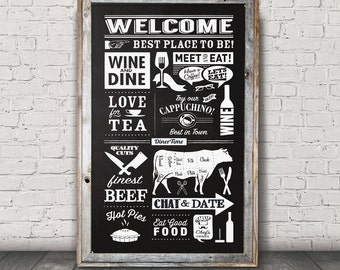 12x20 Handpainted Kitchen Chalkboard
