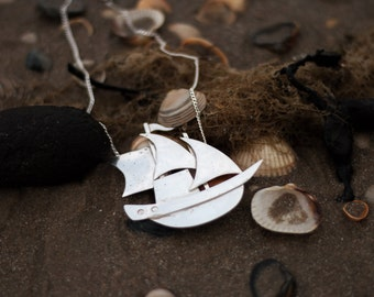Handmade Silver Ship Necklace