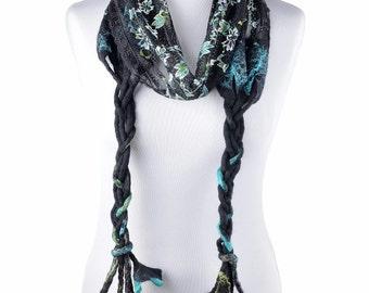 Black lace scarf with decorative felt fringe and shiny turquoise flowers - elegant women accessory, unique, posh and delightful scarf [S12]