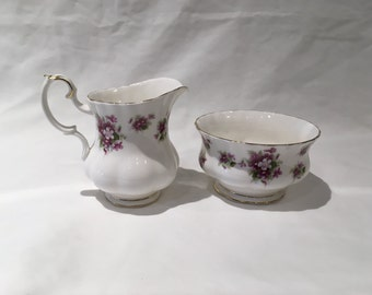 Royal Albert Sweet Violets Mini Creamer and Open Sugar Bowl