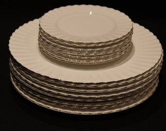 """Royal Albert Chantilly Platinum  10 1/2"""" Dinner Plate and 8 1/4"""" Salad Plate 6 3/8"""" Bread and Butter Plate"""