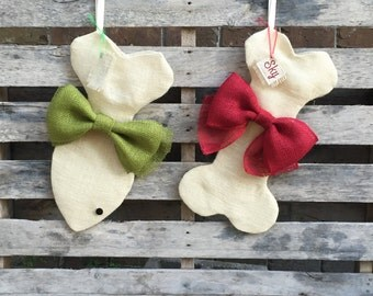 DOG & CAT Burlap Christmas Stocking Set