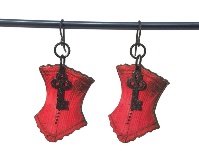 Red Steampunk Corset w/Key Dangle Drop Earrings Wood Nickle Free Gun Metal Ear Wire OOAK