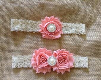 Peach Bridal Garter Set- Pearls and Rhinestones-Antique lace garter,Couture Garter Set, photo prop,wedding,flower girl
