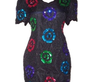 Black Green Red Blue Purple Turquoise Floral Flower Sequined Plus Size Dress