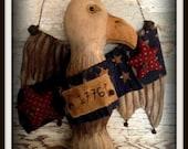 Primitive Folk Art Handcrafted American Eagle 1776 Door Greeter-Wall Hanging-Americana-Patriotic Decor-Hafair Team, Faap