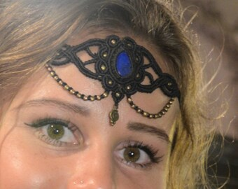 LAPIS LAZULI HEADPIECE Armband Choker *Goddess *Festival Clothing *Gypsy *Bohemian *Pixie Jewelry