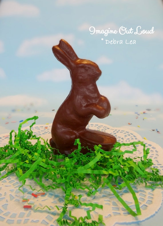 "5 1/2"" Tall Fake Chocolate Rabbit Bunny Handmade Faux Easter Centerpiece Basket Filler Prop Kitchen Decor"